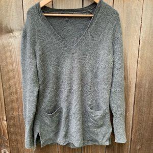 J.Crew V-Neck Front-Pocket Tunic Sweater Wool
